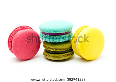 A french sweet delicacy, Colourful macaroons variety closeup.