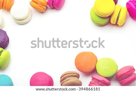 A french sweet delicacy, macaroons variety with space for text.,vintage tone colour - stock photo
