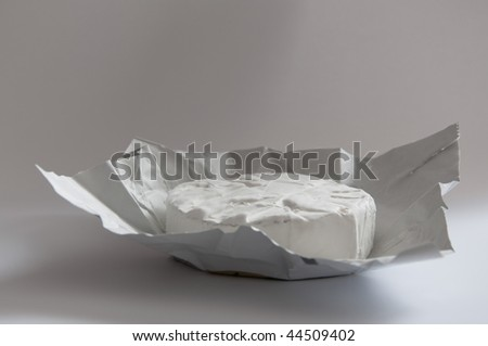 A fresh and young Camembert cheese, just unwrapped. - stock photo