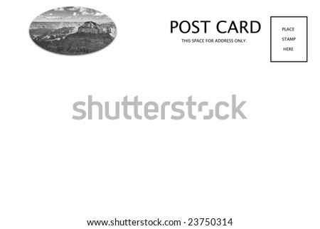 A fresh blank Arizona postcard including my Grand Canyon scenic. Ready for print or for you to customize. - stock photo