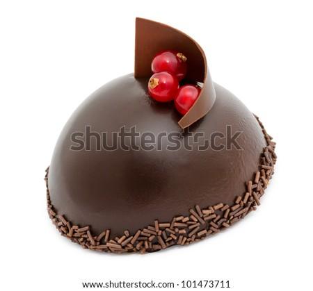 a fresh chocolate cake, over white background - stock photo