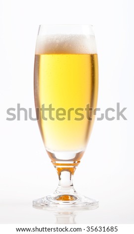 A fresh, cold beer isolated on white background - stock photo