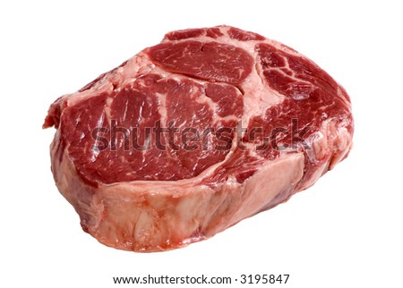 A fresh cut of ribeye steak ready for the grill - stock photo