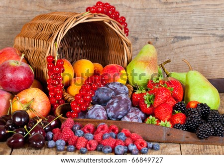 A fresh Fruit Basket with European Fruits in Summer - stock photo