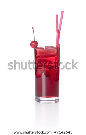 A fresh fruit daiquiri on white ground - stock photo