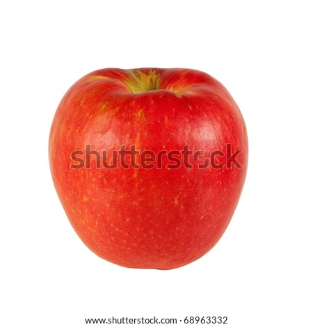A fresh Honeycrisp apple isolated on a white background. - stock photo