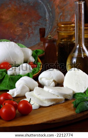 a fresh italian cheese with tomatoes - stock photo