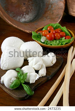 a fresh italian cheese with tomatoes and basil - stock photo