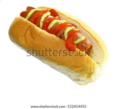 A fresh juicy grilled hot dog served with ketchup and spicy brown mustard on a white bun Isolated on white