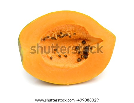 A fresh papaya fruit isolated on white background. Shallow depth of field