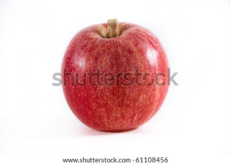 A fresh red and yellow gala apple on a white isolated background. - stock photo