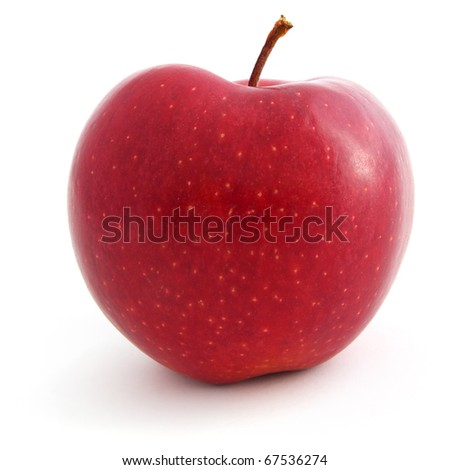 A Fresh red apple isolated on white background - stock photo