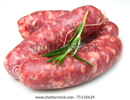 a fresh sausage isolated on white background - stock photo