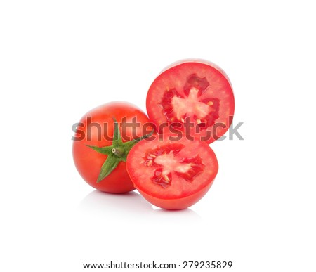 A Fresh tomatoes isolated on white. - stock photo