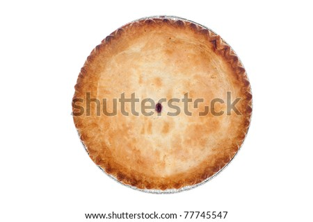 A freshly baked cherry pie on white.  Designers can clone out the center opening and use the image for any kind of crust covered pie. - stock photo