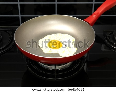A freshly fried egg in a frying pan - stock photo