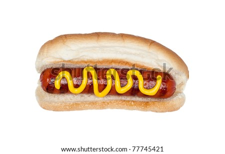 A freshly grilled hotdog on a bun with a stream of mustard isolated on white. - stock photo