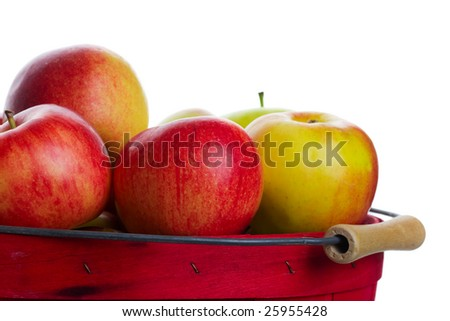 A freshly harvested basket of apples ready for market. - stock photo