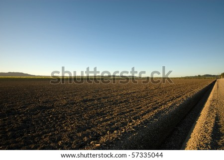 A freshly plouged paddock in a sugar cane farm, Northern New South Wales, Australia