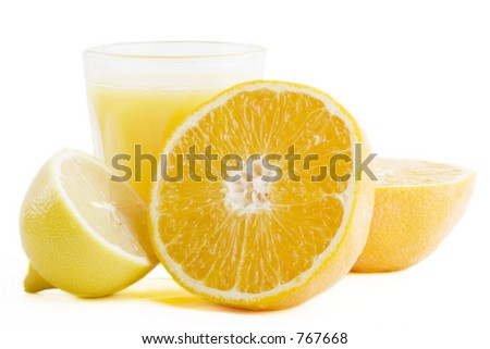 A freshly squeezed glass of citrus (orange and lemon) juice.