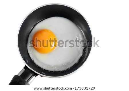 A fried egg in a frying pa - stock photo