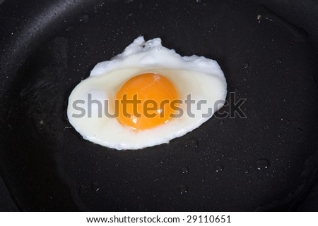 A fried egg in a frying pan.