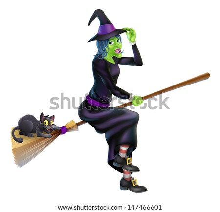 A friendly cartoon Halloween witch flying on her broom stick with her cute black cat - stock photo