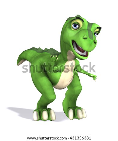A friendly greeting from a cute little t-rex dinosaur - 3d render.