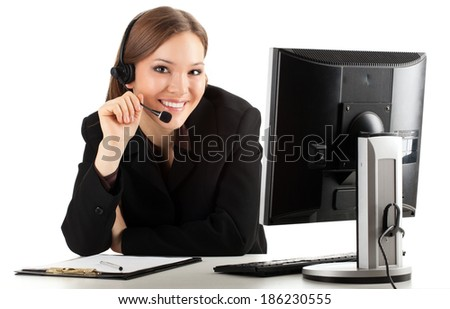 A friendly secretary/telephone operator in headphones, white background