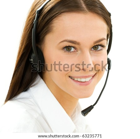 A friendly secretary/telephone operator on the white background - stock photo