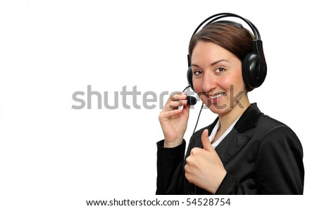 A friendly secretary/telephone operator showing the thumbs up, isolated on white - stock photo