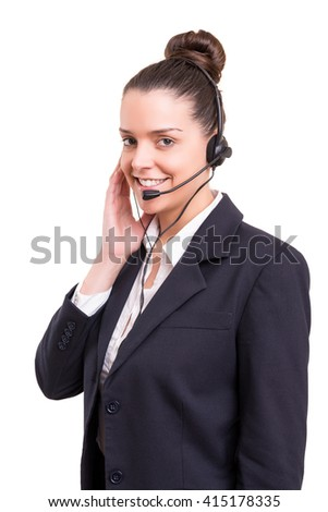 A friendly telephone operator smiling isolated over a white background