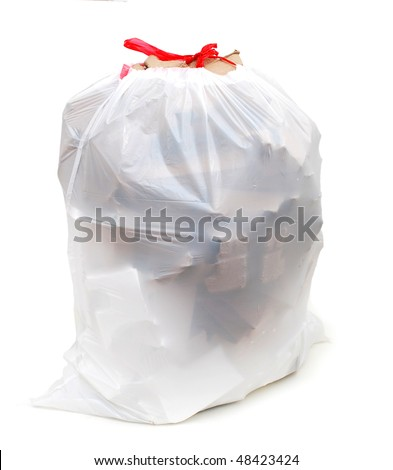 a friendly white recycle bag - stock photo