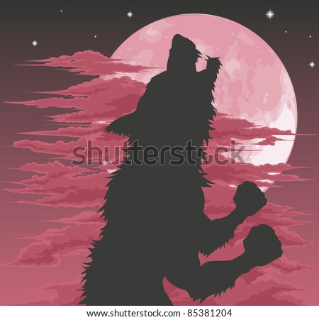 A frightening werewolf silhouette howling at the moon. Halloween illustration. - stock photo