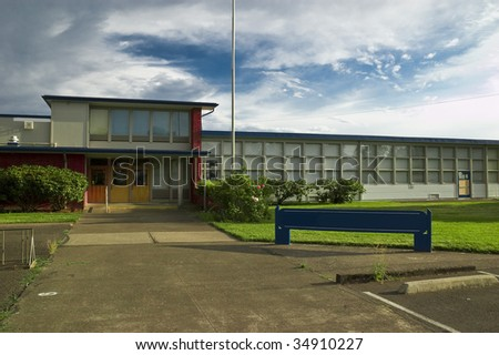 A front of a public school. - stock photo