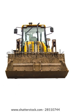 a front on image of a yellow rusty well used and worn jcb earth mover. - stock photo