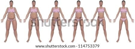 A front view illustration of a obese woman's weight loss progress in a series of six renders. Isolated on a solid white background. - stock photo