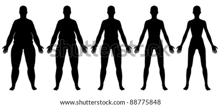 A front view illustration of 5 female silhouette's in different stages ranging from obese to skinny. Isolated on a solid white background. - stock photo