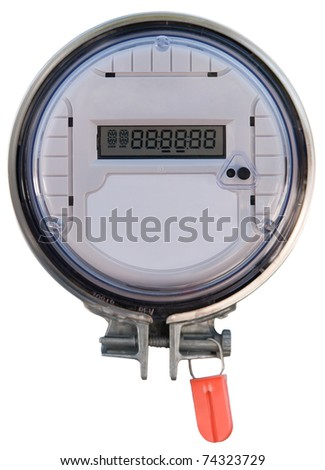 A front view of a residential radio frequency transmitting hydro smartmeter on an isolated white background. - stock photo