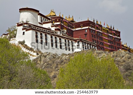 A front view of the Potala Palace, the residence of the exiled Dalai Lama in Lhasa, the capital of Tibet. - stock photo