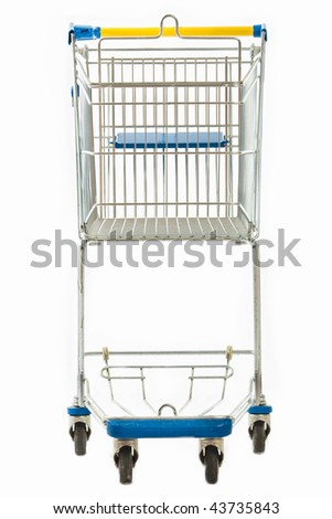 A frontal view of an empty metal shopping cart isolated on white. - stock photo