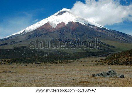 A frontal view of the majestic Cotopaxi (highest active volcano in the world), in the heart of the Andes, Ecuador, South America. - stock photo