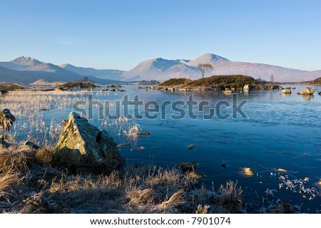 A frosty morning at Lochan na h-Achlaise on Rannoch Moor, near Glencoe, Scotland - stock photo