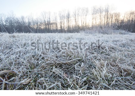 A frosty winter morning view in the Berkshire Mountains of Western Massachusetts. - stock photo