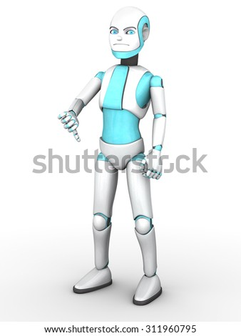 A frowning cartoon robot boy doing a thumbs down with his hand. White background. - stock photo