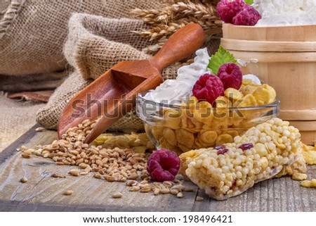 A fruit and nut ceral protein bars with sour cream and cornflakes - stock photo