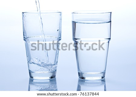 A full and a empty glass of water