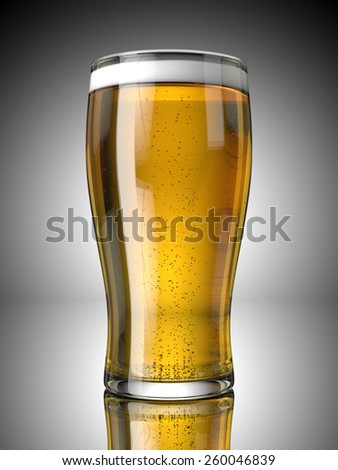 A Full Beer Pint with Froth and Bubbles On a Grey Background - stock photo
