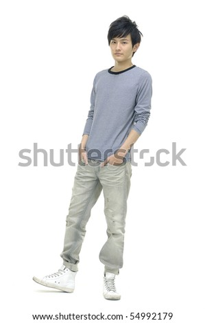 A full body view of a casual man, isolated - stock photo