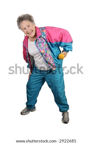 A full body view of a senior lady stretching and using weights with a big smile on her face.  Isolated on white. - stock photo